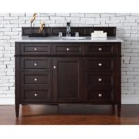 Brittany 48-Inch Single Vanity Cabinet in Mahogany with 2 cm Stone Top in Carrara White