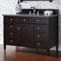 Brittany 48-Inch Single Vanity Cabinet in Mahogany with 3 cm Quartz Top in Shadow Grey