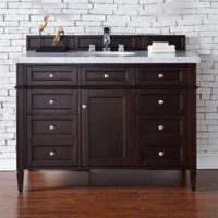 Brittany 48-Inch Single Vanity Cabinet in Mahogany with 4 cm Stone Top in Carrara White