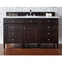James Martin Furniture Brittany 60-Inch Single Vanity in Mahogany with 3-cm White Quartz Top