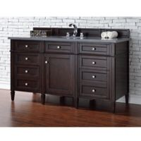 James Martin Furniture Brittany 60-Inch Single Vanity in Mahogany with 3-cm Grey Quartz Top