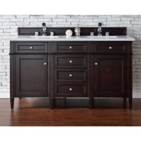 Brittany 60-Inch Double Vanity in Mahogany with 3 cm Quartz Top in Snow White