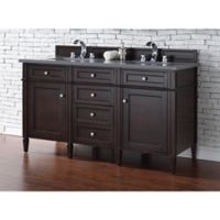 Brittany 60-Inch Double Vanity in Mahogany with 3 cm Quartz Top in Grey