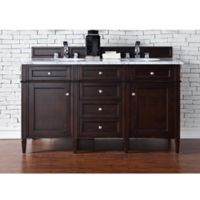 Brittany 60-Inch Double Vanity in Mahogany with 2 cm Marble Top in White