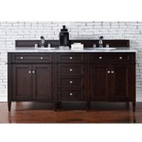 Brittany 72-Inch Double Vanity Cabinet with 2-cm Carrara White Stone Top in Mahogany