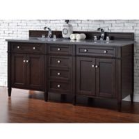 Brittany 72-Inch Double Vanity Cabinet with 3-cm Shadow Grey Quartz Top in Mahogany