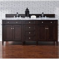 Brittany 72-Inch Double Vanity Cabinet with 4-cm Carrara White Stone Top in Mahogany