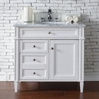 James Martin Furniture Brittany 36-Inch Single Cabinet Vanity with Marble Top in Cottage White