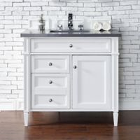 James Martin Furniture Brittany 36-Inch Single Cabinet Vanity with Quartz Top in Cottage White