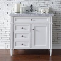 James Martin Furniture Brittany 36-Inch Single Cabinet Vanity with Marble Stone Top in Cottage White