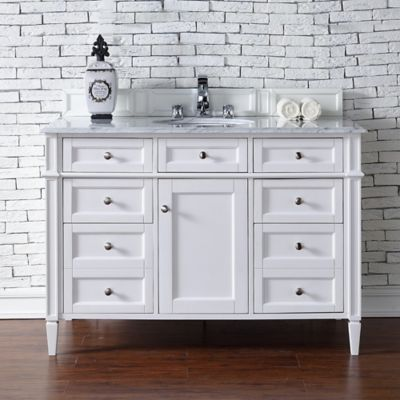 brittany 48 inch single vanity cabinet with 2 cm carrara white marble top in - Bathroom Cabinets Bed Bath And Beyond