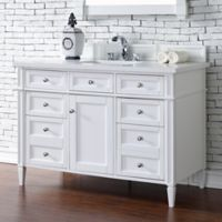 Brittany 48-Inch Single Vanity Cabinet with 3-cm Snow White Quartz Top in White