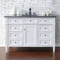 Brittany 48-Inch Single Vanity Cabinet with 3-cm Shadow Grey Quartz Top in White