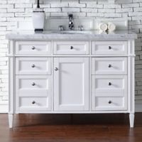 Brittany 48-Inch Single Vanity Cabinet with 4-cm Carrara White Marble Top in White
