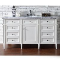 James Martin Furniture Brittany 60-Inch Single Cabinet Vanity with Marble Top in Cottage White