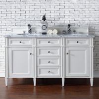 James Martin Furniture 60-Inch Double Vanity with Marble Top in Cottage White