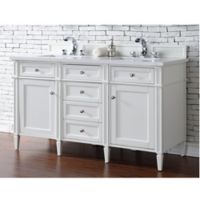 James Martin Furniture 60-Inch Double Vanity with Quartz Top in Cottage White