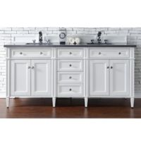 James Martin Furniture Brittany 72-Inch Double Cabinet Vanity with 3 cm Quartz Top in Cottage White