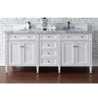 James Martin Furniture Brittany 72-Inch Double Cabinet Vanity with 4 cm Marble Top in Cottage White