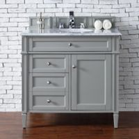 James Martin Furniture Brittany 36-Inch Single Cabinet Vanity with Marble Top in Urban Grey