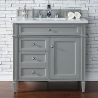 James Martin Furniture Brittany 36-Inch Vanity in Urban Grey with 3 cm Quartz Top in Snow White