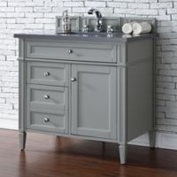 James Martin Furniture Brittany 36-Inch Vanity in Urban Grey with 3 cm Quartz Top in Grey