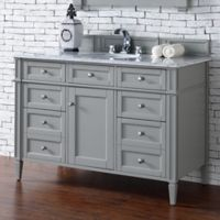 James Martin Furniture Brittany 48-Inch Single Vanity Cabinet with 2cm Marble Top in Grey/White