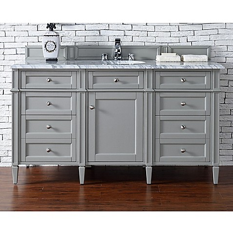 Buy James Martin Furniture Brittany 60 Inch Single Cabinet Vanity With Marble Top In Urban Grey
