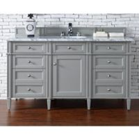 James Martin Furniture Brittany 60-Inch Single Cabinet Vanity with Marble Top in Urban Grey