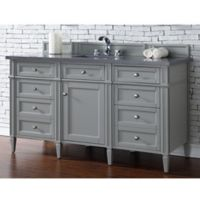 James Martin Furniture Brittany 60-Inch Single Cabinet Vanity with Quartz Top in Urban Grey