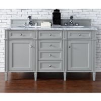 James Martin Furniture Brittany 60-Inch Double Cabinet Vanity with Marble Top in Urban Grey