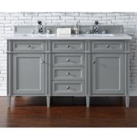 James Martin Furniture Brittany 60-Inch Double Cabinet Vanity with Quartz Top in Urban Grey