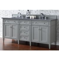 James Martin Furniture Brittany 72-Inch Double Cabinet Vanity with Quartz Top in Urban Grey