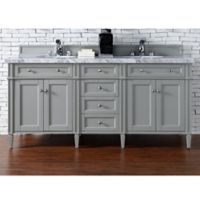 James Martin Furniture Brittany 72-Inch Double Cabinet Vanity with Marble Top in Urban Grey