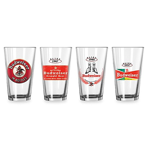 Retro Budweiser 16-Ounce Glasses (Set of 4)