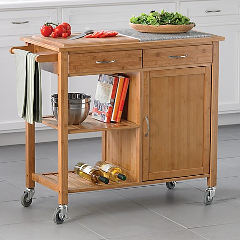 rolling island for kitchen linon home bamboo rolling kitchen island bed bath amp beyond 4862