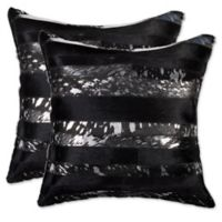 Torino Madrid Cowhide Panel Throw Pillows in Silver/Black (Set of 2)