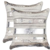 Torino Madrid Cowhide Panel Throw Pillows in Silver/Grey (Set of 2)