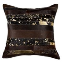 Torino Madrid Cowhide 18-Inch x 18-Inch Throw Pillow in Chocolate/Gold