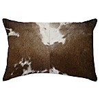 Torino Cowhide Throw Pillow in Dark Brown/White