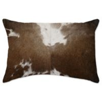 Torino Cowhide Throw Pillow in Chocolate/White