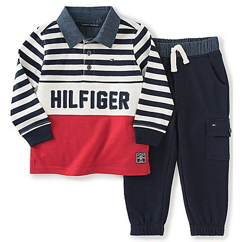 tommy hilfiger 2 piece rugby shirt and cargo fleece pant. Black Bedroom Furniture Sets. Home Design Ideas