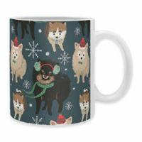 "DENY Designs ""Christmas Canine Pomeranian"" Mug in Blue (Set of 2)"