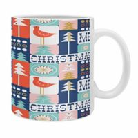"DENY Designs ""Christmas Collage Chill"" Mug in Pink (Set of 2)"