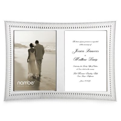 nambe beaded double invitation frame in silver plate