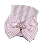 Tiny Blessings Boutique Newborn Rhinestone Crown Striped Knit Hat in Pink