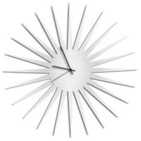 Metal Art Studio Whiteout Starburst Wall Clock with Black Hands