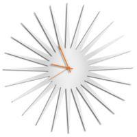 Metal Art Studio Whiteout Starburst Wall Clock with Orange Hands