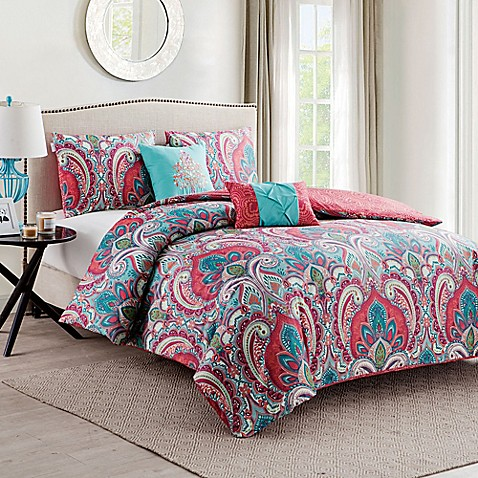 Vcny Casa Re Al Duvet Cover Set In Pink Turquoise Bed