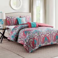 VCNY Casa Re'al 4-Piece Twin Duvet Cover Set in Pink/Turquoise